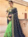 image of Function Wear Sea Green Art Silk Designer Saree With Heavy Embroidery