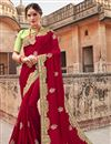 image of Eid Special Function Wear Georgette Fancy Maroon Designer Saree With Embroidery Work