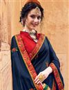 photo of Eid Special Navy Blue Function Wear Art Silk Traditional Saree With Fancy Embroidery