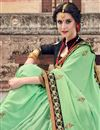 photo of Art Silk Sangeet Wear Sea Green Designer Traditional Saree With Heavy Embroidery