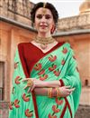 photo of Function Wear Art Silk Cyan Designer Saree With Heavy Embroidery