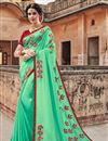 image of Function Wear Art Silk Cyan Designer Saree With Heavy Embroidery