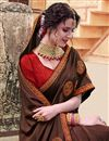 photo of Art Silk Function Wear Brown Traditional Saree With Fancy Embroidery