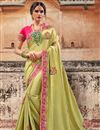 image of Sangeet Wear Designer Traditional Saree In Art Silk Green With Heavy Embroidery