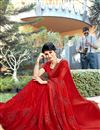 photo of Embroidery Work On Red Party Wear Saree In Georgette Fabric With Beautiful Blouse