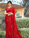 image of Embroidery Work On Red Party Wear Saree In Georgette Fabric With Beautiful Blouse