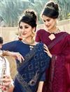 photo of Navy Blue Georgette Fabric Occasion Wear Saree With Embroidery Work And Designer Blouse