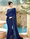 image of Navy Blue Georgette Fabric Occasion Wear Saree With Embroidery Work And Designer Blouse