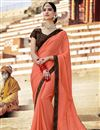 image of Peach Color Party Wear Plain Fancy Saree With Lace Border