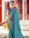 image of Party Style Fancy Sky Blue Plain Saree In Georgette With Lace Border