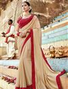image of Fancy Cream Party Style Georgette Plain Saree With Lace Border