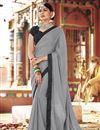 image of Georgette Party Wear Plain Fancy Saree With Lace Border