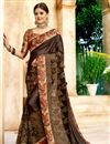 image of Function Wear Fancy Lycra And Net Fabric Designer Saree In Brown With Printed Blouse