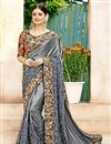 image of Lycra And Net Fabric Function Wear Traditional Grey Designer Saree With Printed Blouse