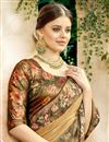 photo of Function Wear Fancy Lycra And Net Fabric Designer Saree In Beige With Printed Blouse