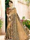 image of Function Wear Designer Lycra And Net Fabric Saree In Beige With Printed Blouse