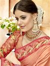 photo of Sangeet Function Wear Designer Saree In Peach Lycra And Net Fabric With Printed Blouse