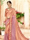 image of Sangeet Function Wear Designer Saree In Peach Lycra And Net Fabric With Printed Blouse