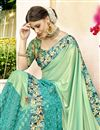 photo of Traditional Function Wear Lycra And Net Fabric Designer Saree In Sea Green With Printed Blouse