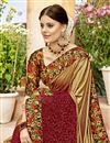 photo of Sangeet Function Wear Designer Saree In Golden Lycra And Net Fabric With Printed Blouse