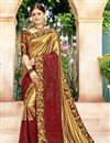 image of Sangeet Function Wear Designer Saree In Golden Lycra And Net Fabric With Printed Blouse