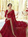 photo of Captivating Embroidery Work On Georgette Fancy Maroon Designer Saree