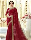 image of Captivating Embroidery Work On Georgette Fancy Maroon Designer Saree