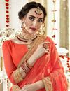 photo of Stunning Georgette Party Wear Orange Fancy Saree With Embroidery