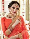 photo of Captivating Embroidery Work On Georgette Fancy Orange Designer Saree