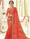 image of Stunning Georgette Party Wear Orange Fancy Saree With Embroidery