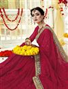 photo of Traditional Embroidery Work On Georgette Designer Red Fancy Saree