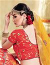 photo of Weaving Work On Jacquard Silk Fabric Designer Lehenga In Red With Blouse