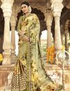 image of Festive Wear Designer Georgette And Net Fabric Printed Work Saree In Beige