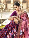 photo of Designer Georgette And Net Fabric Fancy Burgundy Color Festive Wear Printed Saree