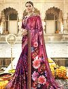 image of Designer Georgette And Net Fabric Fancy Burgundy Color Festive Wear Printed Saree