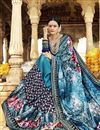 photo of Festive Wear Designer Georgette And Net Fabric Printed Work Saree In Sky Blue