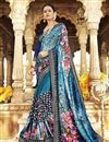 image of Festive Wear Designer Georgette And Net Fabric Printed Work Saree In Sky Blue