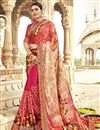 image of Designer Georgette And Net Fabric Fancy Pink Festive Wear Printed Saree