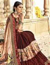 photo of Fancy Georgette And Net Fabric Festive Wear Brown Saree With Printed Work