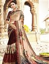image of Fancy Georgette And Net Fabric Festive Wear Brown Saree With Printed Work