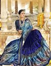 photo of Festive Wear Navy Blue Fancy Saree In Georgette And Net Fabric With Printed Work