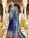 image of Festive Wear Navy Blue Fancy Saree In Georgette And Net Fabric With Printed Work