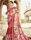 image of Fancy Georgette And Net Fabric Festive Wear Pink Saree With Printed Work