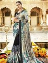 image of Designer Black Fancy Georgette And Net Fabric Festive Wear Printed Saree
