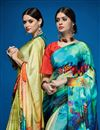 photo of Festive Wear Crepe Silk Printed Designer Saree In Multi Color
