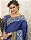 photo of Party Wear Plain Saree In Art Silk Blue With Printed Border