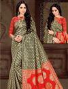 image of Fancy Black Sangeet Wear Art Silk Saree With Weaving Work