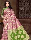 image of Designer Art Silk Fancy Pink Sangeet Wear Weaving Work Saree