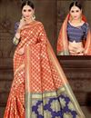 image of Designer Art Silk Fancy Red Sangeet Wear Weaving Work Saree
