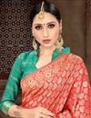 photo of Fancy Peach Designer Art Silk Sangeet Wear Weaving Work Saree